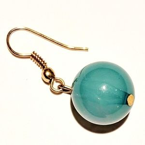 Jewelry - Jade-Colored Translucent Ball Drop Earrings